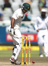 Asad Shafiq looks back to see the ball had rolled back onto the stumps, South Africa v Pakistan, 2nd Test, Cape Town, 4th day, February 17, 2013
