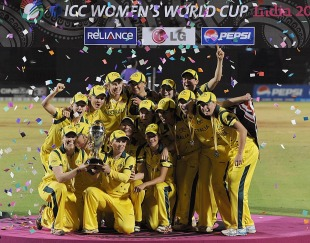 Australians with their World Cup trophy, Australia v West Indies, Women's World Cup 2013, Mumbai, February 17, 2013