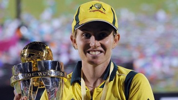 Australia's captain Jodie Fields with the World Cup trophy
