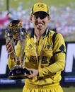 Australia's captain Jodie Fields with the World Cup trophy, Australia v West Indies, Final, Women's World Cup 2013, Mumbai, February 17, 2013