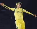 Lisa Sthalekar leaps after taking a catch to finish the final, Australia v West Indies, Women's World Cup 2013, Mumbai, February 17, 2013
