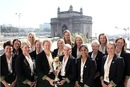 The Australian team with the World Cup trophy with the Gateway of India as a backdrop