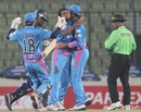 Chittagong Kings players celebrate a fall of wicket