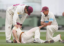 Matthew Gale injured his knee, Victoria v Queensland, Sheffield Shield, Melbourne, February 19, 2013