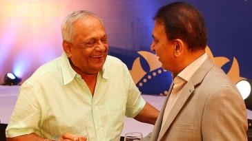EAS Prasanna and Sunil Gavaskar at the MAK Pataudi Memorial Lecture