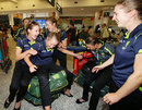 The Australian women's team in good spirits after returning home from their World Cup win in India