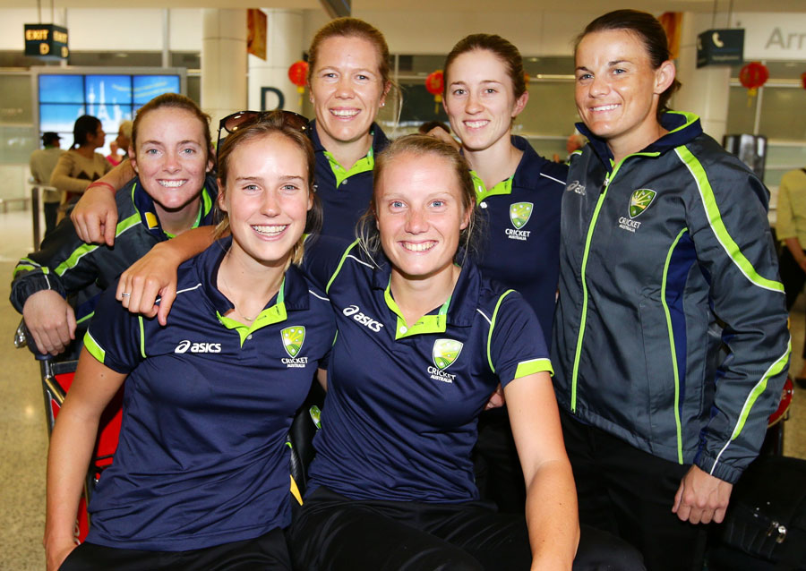 The victorious Australian team posing after their return home from the World Cup