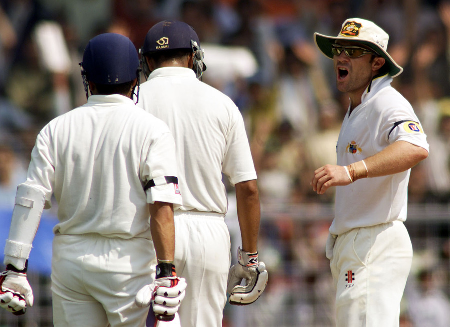 Michael Slater gets up in Rahul Dravid's face in the 2001 series in India after a catch he claimed was clean was ruled not out