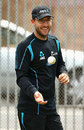 The recuperating Daniel Vettori joins New Zealand at a training session, Auckland, February 22, 2013