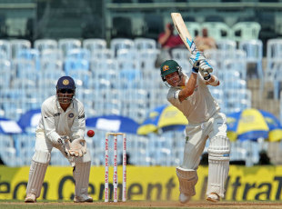Michael Clarke drives on his way to fifty, India v Australia, 1st Test, Chennai, 1st day, February 22, 2013