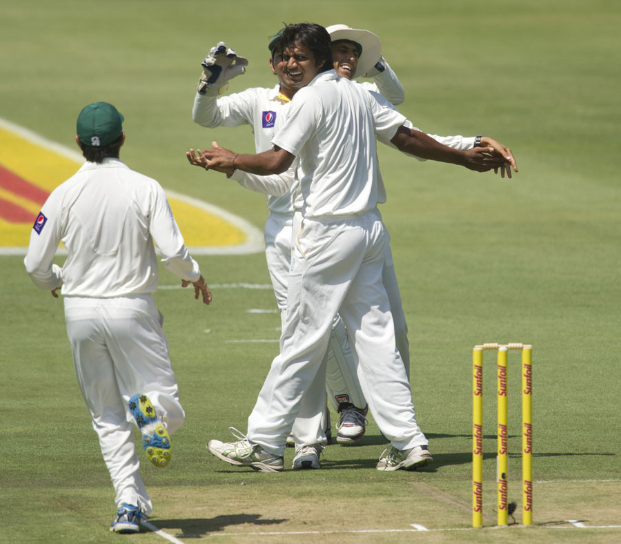 Rahat Ali celebrates his first wicket in Tests