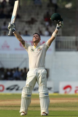 Michael Clarke celebrates his century off the final over of the day, India v Australia, 1st Test, Chennai, 1st day, February 22, 2013