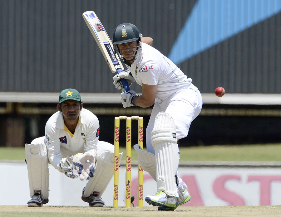 Faf du Plessis gets in position to play a shot