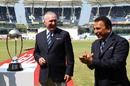 Sunil Gavaskar and Allan Border share a light moment during the tea break, India v Australia, 1st Test, Chennai, 1st day, February 22, 2013