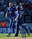 Stuart Broad celebrates having Andrew Ellis caught in the deep