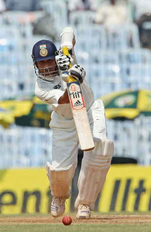 Sachin Tendulkar drives down the ground, India v Australia, 1st Test, Chennai, 2nd day, February 23, 2013