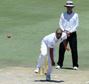 Vernon Philander completes his delivery as umpire Billy Bowden looks on, South Africa v Pakistan, 3rd Test, Centurion, 2nd day, February 23, 2013