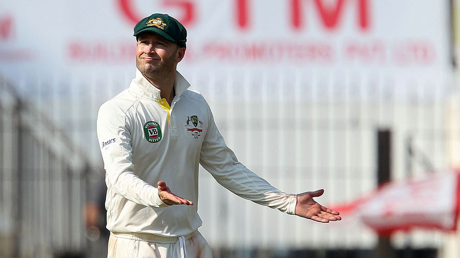 Michael Clarke has some fun with the crowd
