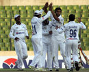 Central Zone's Mosharraf Hossain celebrates a wicket with his team-mates