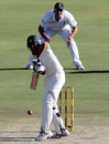 Younis Khan carefully plays a back-foot defence