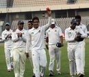 Sanjamul Islam leads the team back after taking eight wickets, Central Zone v North Zone, BCL final, Mirpur, 3rd day, February 24, 2013