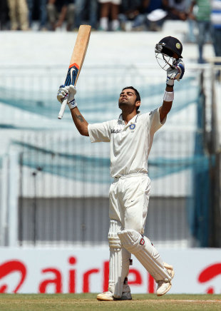 Virat Kohli celebrates his hundred against Australia in Chennai, 2013