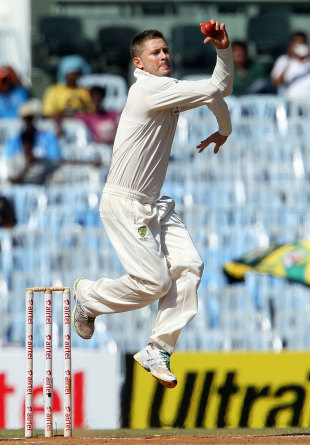 Michael Clarke has a bowl, India v Australia, 1st Test, Chennai, 3rd day, February 24, 2013