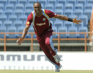 Dwayne Bravo celebrates on his way to 6 for 43, West Indies v Zimbabwe, 2nd ODI, Grenada, February 24, 2013