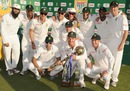 The victorious South African team poses with the trophy, South Africa v Pakistan, 3rd Test, Centurion, 3rd day, February 24, 2013