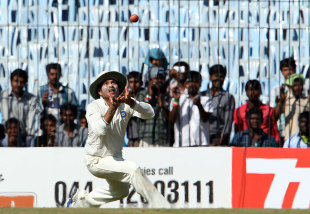 Sachin Tendulkar lines up to take the catch that dismissed Mitchell Starc, India v Australia, 1st Test, Chennai, 4th day, February 25, 2013