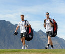 Nick Compton and Kevin Pietersen at a practice session in Queenstown, New Zealand