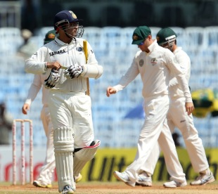 Virender Sehwag was dismissed for 19 by Nathan Lyon, India v Australia, 1st Test, Chennai, 5th day, February 26, 2013