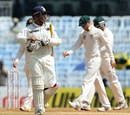 Virender Sehwag was dismissed for 19 by Nathan Lyon