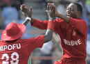 Tino Mutombodzi celebrates a wicket, West Indies v Zimbabwe, 3rd ODI, Grenada, February 26, 2013