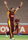 Ryan Harris celebrates the wicket of Aaron Finch