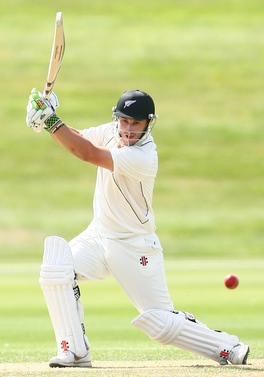 Hamish Rutherford drives during his confident innings