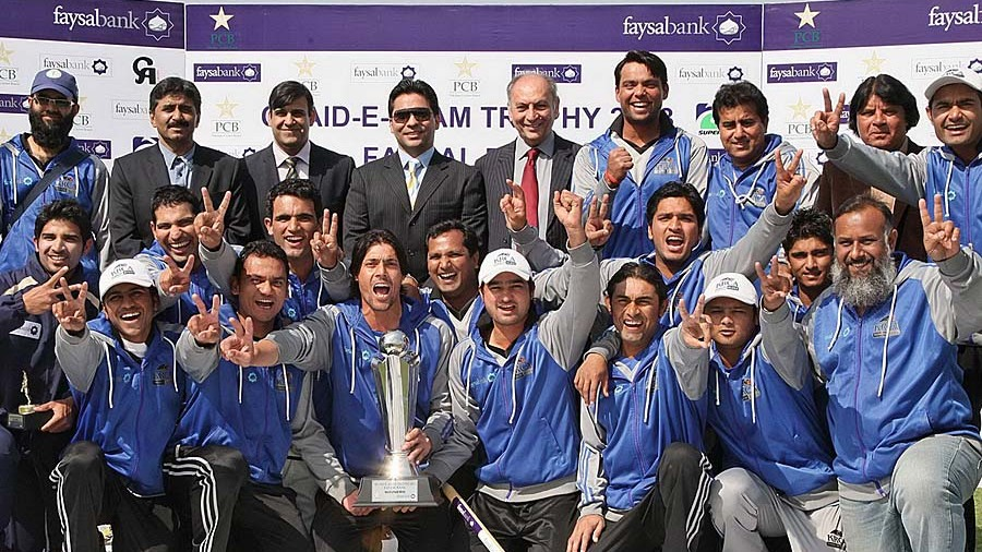 Karachi Blues with their Quaid-e-Azam trophy after winning the final