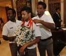 Bangladesh players share a light moment after arrival in Sri Lanka, Colombo, February 28, 2013