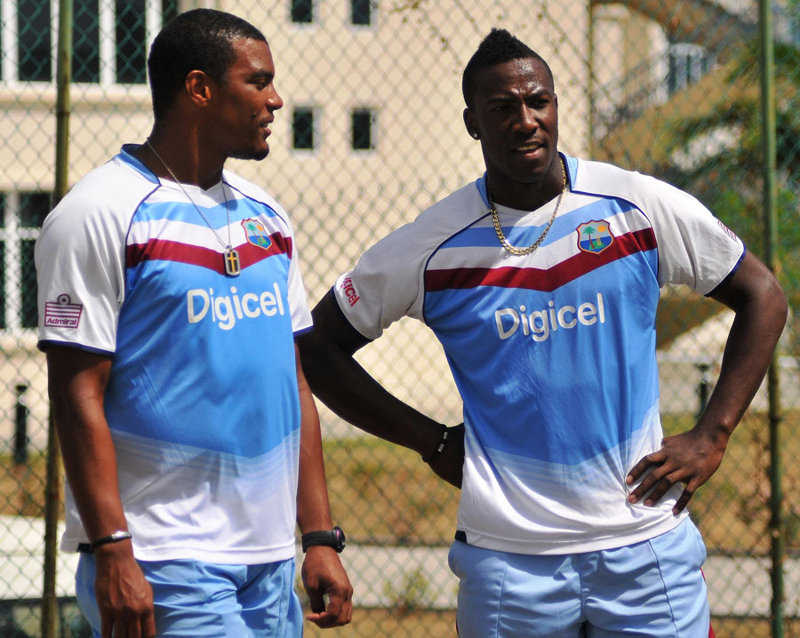 Shannon Gabriel and Andre Russell at the nets