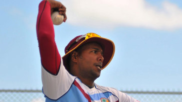 Samuel Badree has a bowl during West Indies practice session