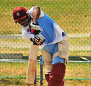 Christopher Barnwell plays a drive during a West Indies practice session, North Sound, February 28, 2013