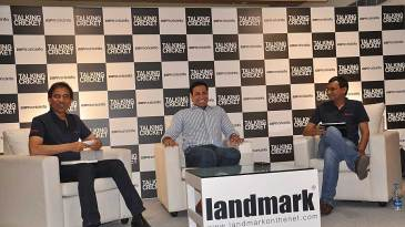 Harsha Bhogle, ESPNcricinfo editor Sambit Bal, and VVS Laxman during a discussion at the launch of <i>Talking Cricket</i>