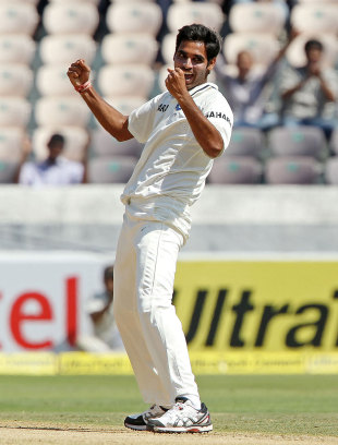 Bhuvneshwar Kumar is ecstatic after striking, India v Australia, 2nd Test, Hyderabad, 1st day, March 2, 2013