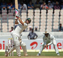 Matthew Wade hits out on his way to a fifty, India v Australia, 2nd Test, Hyderabad, 1st day, March 2, 2013