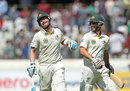 Michael Clarke and Matthew Wade share a laugh on their way to tea, India v Australia, 2nd Test, Hyderabad, 1st day, March 2, 2013