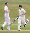 Tom Latham takes a run as Graham Onions follows through, New Zealand XI v England XI tour game, Queenstown, 4th day, March 2, 2013