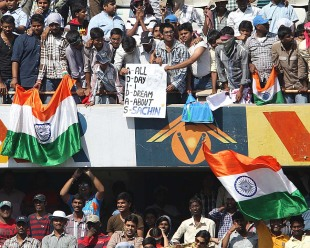 Fans of Sachin Tendulkar hold up a banner, India v Australia, 2nd Test, Hyderabad, 1st day, March 2, 2013