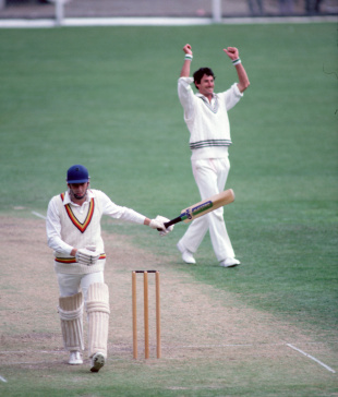 Derek Randall is dismissed off Richard Hadlee's bowling, New Zealand v England, 2nd Test, Christchurch, 3rd day, February 5, 1984