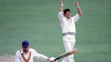 Derek Randall is dismissed off Richard Hadlee's bowling