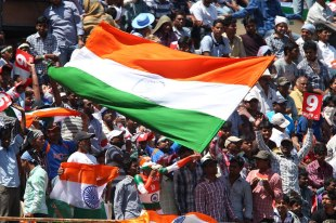 Indian fans bear the sun as they cheer their team, India v Australia, 2nd Test, Hyderabad, 2nd day, March 3, 2013